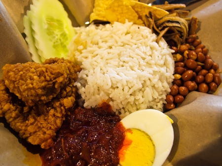 keropok: Nasi lemak traditional malaysian spicy rice dish