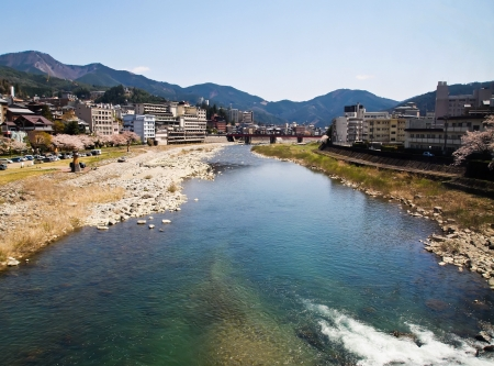 게로 온천이 중 하나로 언급 된 일본의 세 가장 유교 시인 하야시 라잔에 의해 온천. 스톡 콘텐츠