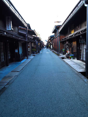 merchant: Sannomachi Historic District Street Takayama with old merchant houses , Japan