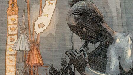artwork: Goddess using flute Stock Photo