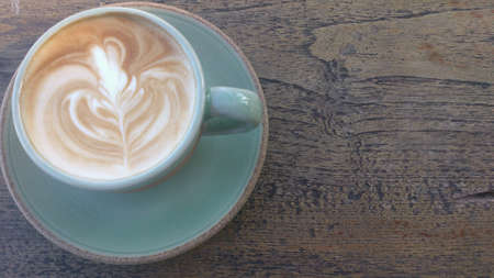 artwork: Coffee Latte on Wooden Table
