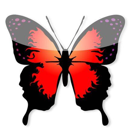 Linha arte borboleta vermelha e preta Ilustra��o