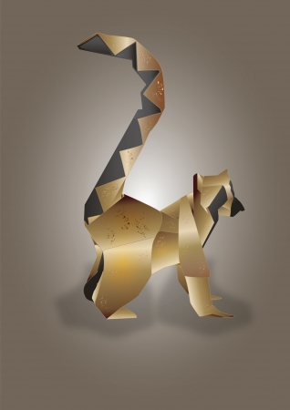 Lemur ouro rodeado cauda Ilustra��o