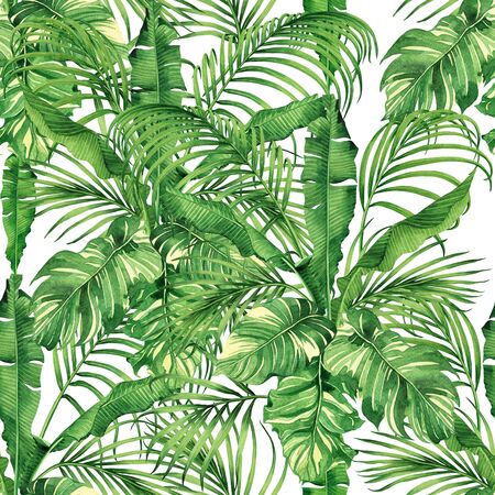 Acquerello pittura cocco, banana, foglia di palma, congedo verde senza cuciture sfondo. Acquerello illustrazione disegnata a mano foglie esotiche tropicali stampe per carta da parati, tessuto stile Hawaii aloha giungla.