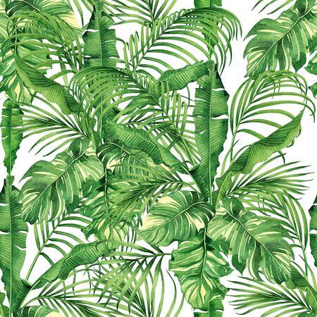 Noix de coco de peinture à l'aquarelle, banane, feuille de palmier, feuilles vertes sans soudure de fond. Illustration dessinée à la main à l'aquarelle, imprimés de feuilles exotiques tropicales pour papier peint, textile style hawaï aloha jungle.
