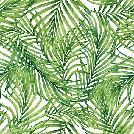 Aquarel schilderij kokos, banaan, palmblad, groene bladeren naadloze patroon achtergrond. Aquarel hand getekende illustratie tropische exotische blad wordt afgedrukt voor behang, textiel Hawaii aloha jungle stijl.