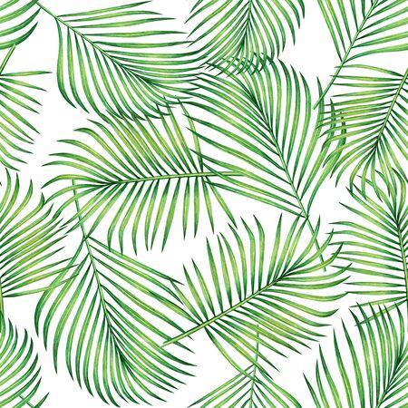 Acquerello pittura cocco, banana, foglia di palma, foglie verdi fondo senza cuciture. Stampe di foglie esotiche tropicali illustrazione disegnata a mano dell'acquerello per carta da parati, tessuto stile Hawaii aloha giungla.