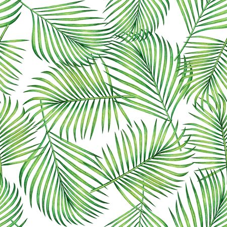 Watercolor painting coconut,banana,palm leaf,green leaves seamless pattern background.Watercolor hand drawn illustration tropical exotic leaf prints for wallpaper,textile Hawaii aloha jungle style.