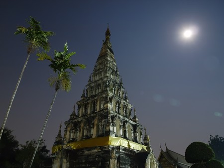 The moon on Wat Chedi Liam Chiang Mai Thailand