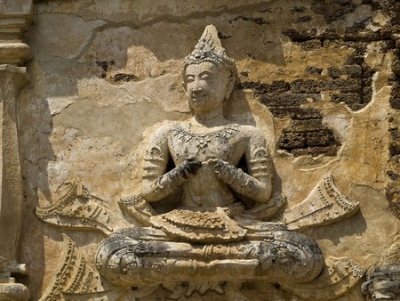 goddess in wat chedi chet yot,  Chiang Mai Thailand Stock Photo