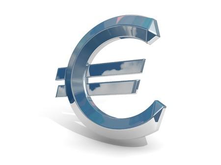Chrome euro on a white background.