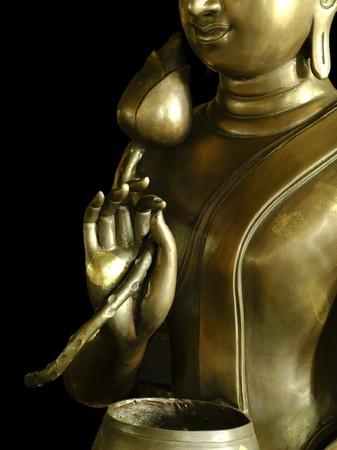 Lotus brass in buddha hand at Wat Pa Dara Phi Rom photo