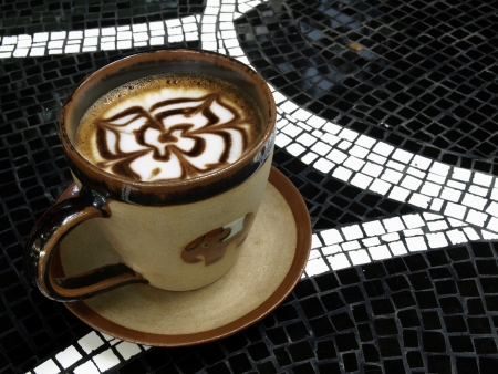 Hot Mocha coffee on the table mosaics. Stock Photo