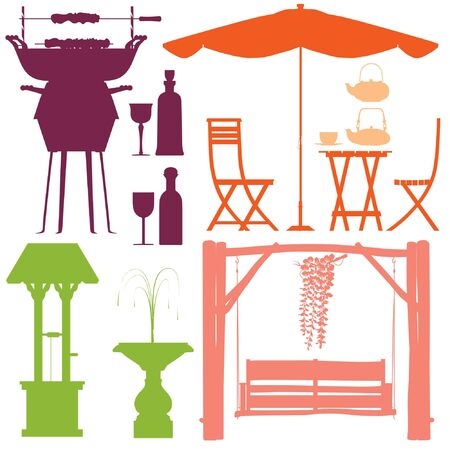 Party in the park silhouette set vector