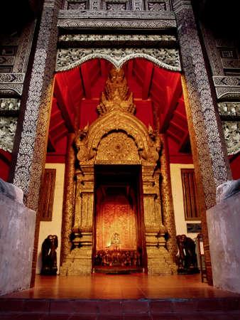 Thai interior, Wat Phra Singh, Chiang Mai, Thailand Stock Photo