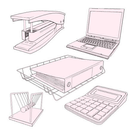 Vector drawing office equipment - detailed vector