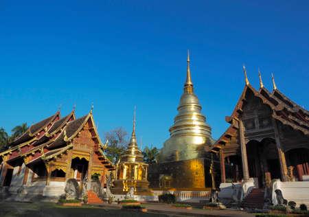 The soft light of the morning sun At Wat Phra Singh Woramahawihan, Chiang Mai, Thailand