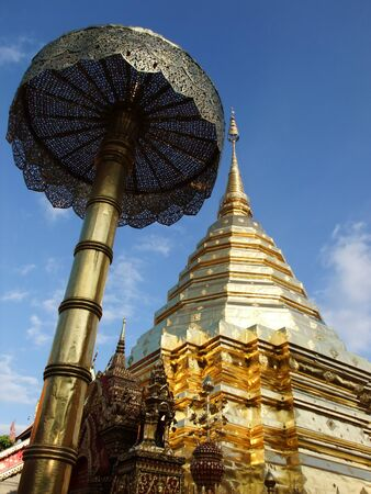 this picture transfers at way North of Thailand temple , the air is cold , photo