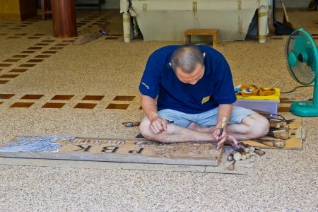 wood carving at a armprawan temple in the Chon Buri