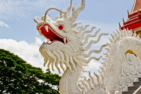 molded dragon white figure , at righteous temple , Cholburi photo