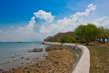 a dam on an island chonburi thailand photo
