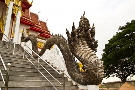 artificial satellite: the handrail to a church at wat cherantum chonburi Stock Photo