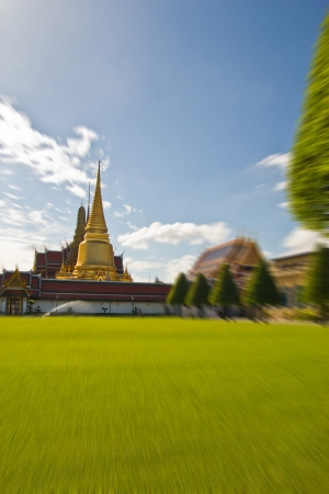 green lawn in the Temple of the Emerald Buddha photo
