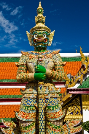 molded demon figure that the Temple of the Emerald Buddha photo