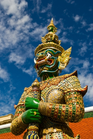 molded demon figure that the Temple of the Emerald Buddha Stock Photo - 14264419