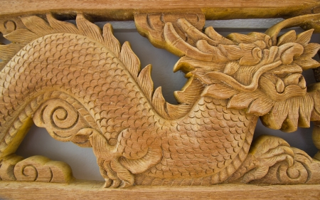 the dragon wood carves of thai, Stock Photo
