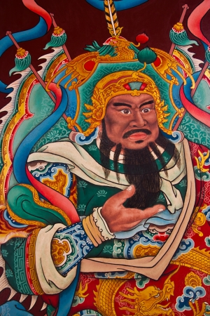fighter painting in Chinese temple in Thailand Editorial
