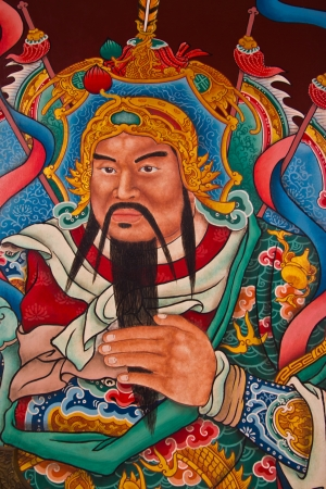fighter painting in Chinese temple in Thailand photo