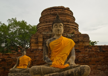 Buddha statue in old temple at Phra Nakhon Si Ayutthaya Stock Photo