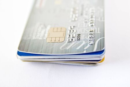 Stack of credit card on white background