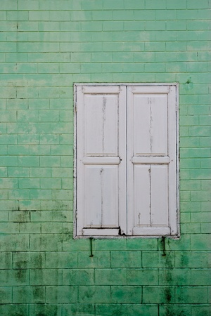 old ,window wall at thailand Stock Photo - 15640776