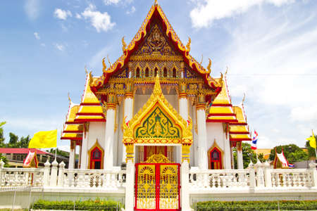 pagoda on blue sky at chonburi thailand photo
