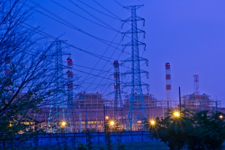bangpakong electric power on night at chonburi thailand photo