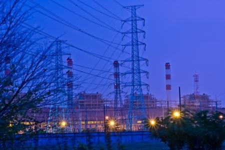 bridger: bangpakong electric power on night at chonburi thailand