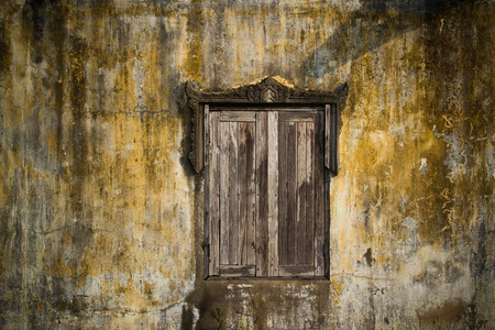 old ,window wall at thailand photo