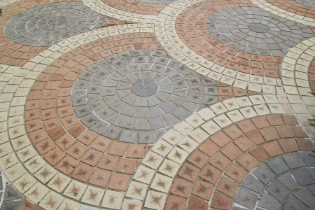 stone block paving at thailand photo