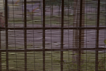 bamboo curtain on the windows photo
