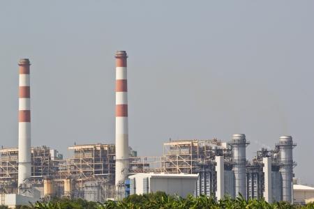 kraftwerk: Gasturbine elektrische Kraftwerk in der D?mmerung