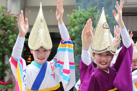 TOKYO, JAPAN-JUNE 2: Fukuro Matsuri festival in Ikebukuro. Contest of Yosakoi dancing bands. june 2, 2011 Tokyo, Japan. Editorial