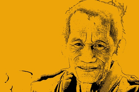 an aged cheerful old man holding a cup of coffee photo
