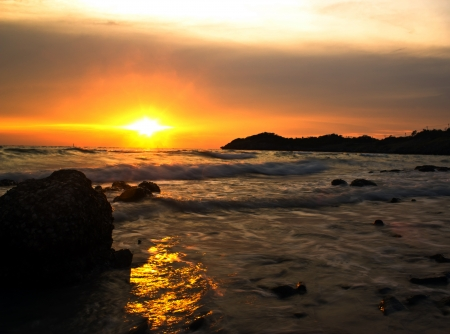 sunset at chea chang island chonburi thailand. photo