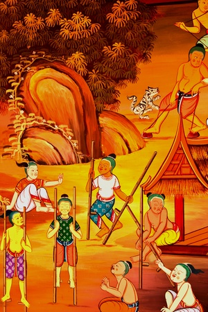 traditional Thai style art with the story about Buddha