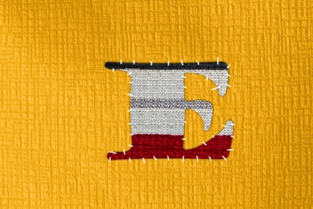 The letter E on cloth photo