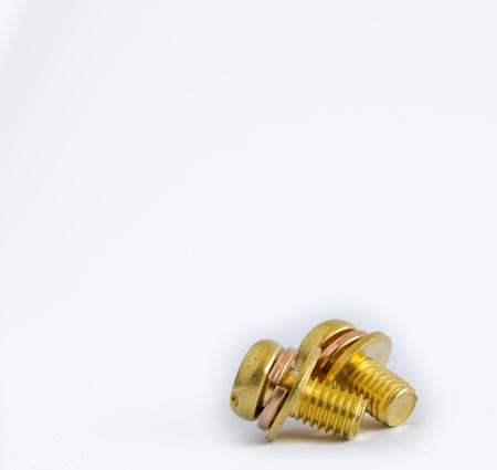 macro of one brass screw