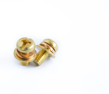 macro of one brass screw Stock Photo - 18337974