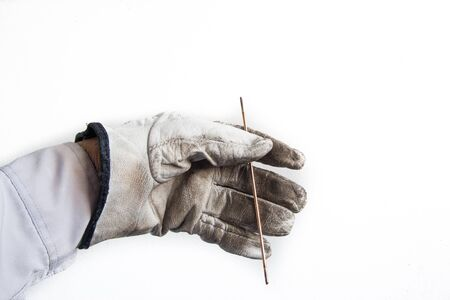 leather glove: leather glove catches cable wire